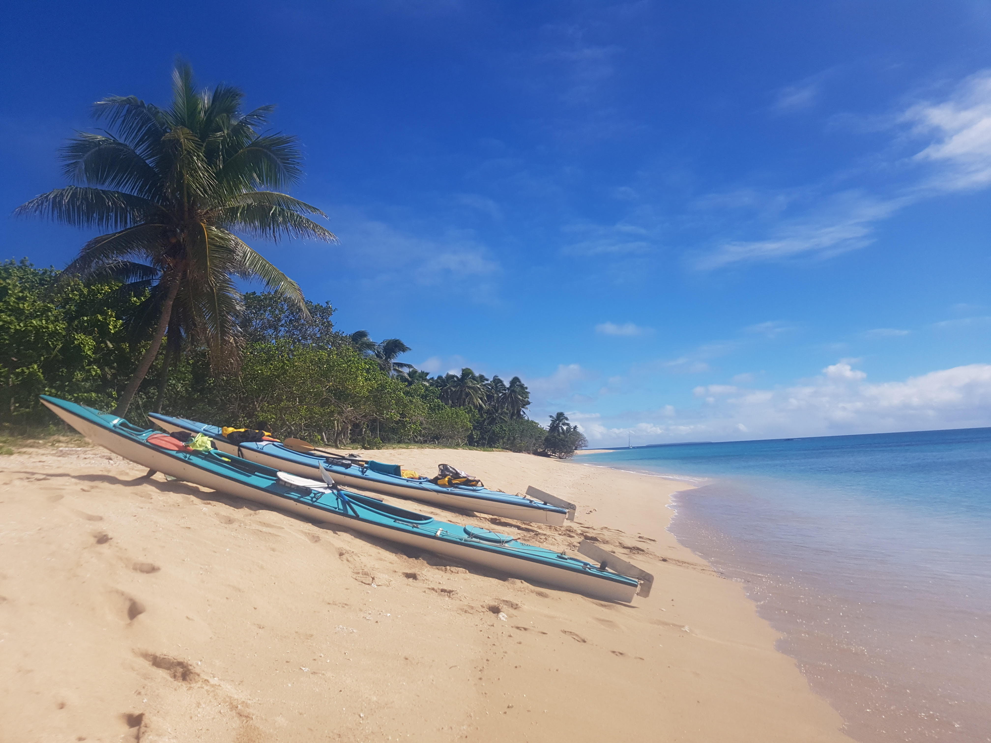 Kayaks on a Ha'apai Beach